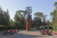 Exploradores e navegadores do russo do monumento na cidade de Totma, região de Vologda imagens de stock royalty free