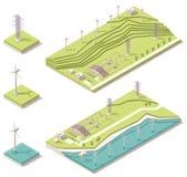 Exploração agrícola de vento isométrica Fotos de Stock