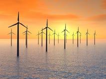 Exploração agrícola de vento a pouca distância do mar Fotografia de Stock Royalty Free