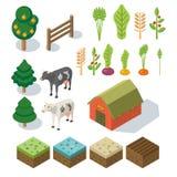 Exploração agrícola isométrica na vila Elementos para o jogo: duendes e telha s Imagem de Stock