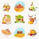 A exploração agrícola relacionou os objetos ajustados de etiquetas brilhantes Fotografia de Stock