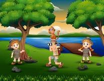 Explorateur d'enfants d'arbre dans la rive illustration stock