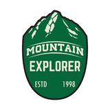 Explorateur de montagne Calibre d'emblème avec la crête de montagne Concevez l'élément pour le logo, label, emblème, signe illustration libre de droits