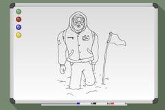 Explorateur polaire tiré par la main illustration de vecteur