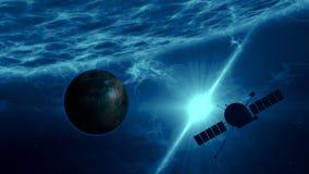 Exploration éloignée d'exoplanet par le vaisseau spatial illustration libre de droits