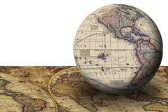 Exploration. This image shows a world maps in a plane old Stock Photo