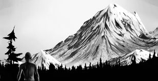 Exploration. Black and white painting of a woman standing in a mountain wilderness Royalty Free Stock Images