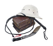 Exploration Adventure Books Pith Helmet Whip Dagger Royalty Free Stock Photography