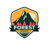 Exploration camp, tourism extreme sport club emblem, logo design. Wild travel sticker. Modern shield forest camp badge. Vector graphic mountaine camping logo royalty free illustration
