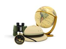 Exploration Concept. Image of Globe with hat and compass Stock Images
