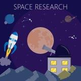 Exploration d'espace, avec l'ocket, les planètes et l'observation Illustration de vecteur illustration de vecteur
