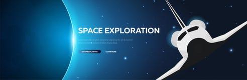 Exploration d'espace navette fond astronomique de l'espace de galaxie Illustration de vecteur illustration de vecteur