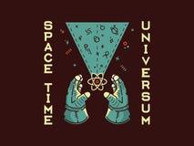 Exploration d'humanité d'universum de temps d'espace illustration de vecteur