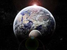 Exploration d'univers - éclipse de lune sur terre illustration libre de droits