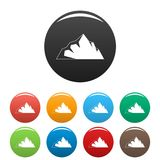 Exploration de vecteur de couleur réglé par icônes de montagne illustration de vecteur