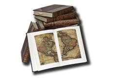 Exploration and discovery. Collection of ancient books of geography Royalty Free Stock Photos