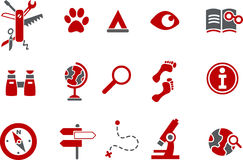 Exploration Icon. Vector icons pack - Red Series, exploration collection Stock Photos