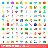 100 exploration icons set, cartoon style. 100 exploration icons set in cartoon style for any design vector illustration Royalty Free Stock Image