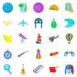Exploration icons set, cartoon style. Exploration icons set. Cartoon set of 25 exploration vector icons for web isolated on white background Stock Photos