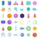 Exploration icons set, cartoon style Royalty Free Stock Images