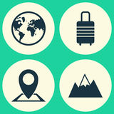 Exploration Icons Set. Collection Of Mount, Suitcase, Location And Other Elements. Also Includes Symbols Such As Planet Stock Images