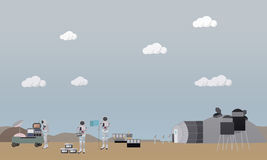 Exploration of Mars concept vector illustration in flat style. Royalty Free Stock Photo