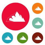 Exploration of mountain icons circle set vector. Isolated on white background royalty free illustration