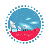Exploration New Galaxies Icon Flat Isolated. Astronomy and universe, cosmos horizon, mission and aerospace industry, future  technology innovation illustration Royalty Free Stock Photo