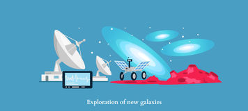 Exploration New Galaxies Icon Flat Isolated. Astronomy and universe, cosmos horizon, mission and aerospace industry, future  technology innovation illustration Stock Images