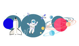 Exploration New Planets Icon Flat  Royalty Free Stock Images