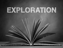 Exploration. Open a book for explore the world wide and  knowledge Royalty Free Stock Image