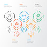 Exploration Outline Icons Set. Collection Of Arrows, Luggage, Taxi And Other Elements. Also Includes Symbols Such As Royalty Free Stock Photography