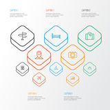 Exploration Outline Icons Set. Collection Of Canopy, Hill, Map Pin And Other Elements.  Stock Photography
