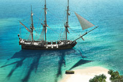 Exploration. A pirate or merchant ship anchored next to an island with the crew going ashore Royalty Free Stock Image