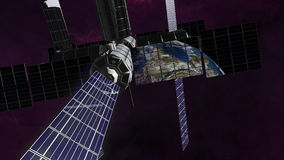 Exploration satellite into orbit around earth. An image of a space station with solar panels and communication technology. The satellite fly into orbit in the vector illustration