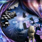 Exploration. Surrealism. Spirals of time and warped space. Astronaut. Woman`s face with lightnings in deep space. Human elements were created with 3D software Royalty Free Stock Photo
