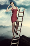 Explorative elegant girl Stock Photography