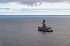 Exploratory offshore drilling by drillship Stock Photo