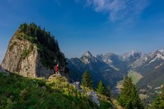 Exploratory tour through the beautiful Appenzell mountain region stock image