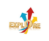 Explore. Text creative presentation  on white Royalty Free Stock Images