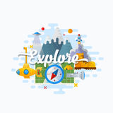 Explore Abstract Vector Flat Style Modern Illustration. Discovery, Science, Education and Outdoor Icons Concept.  Royalty Free Stock Image