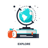 Explore. Abstract vector illustration of explore flat design concept Royalty Free Stock Images