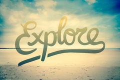 Explore against beach scene vector Stock Images