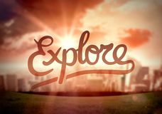 Explore against city scene vector Royalty Free Stock Photography