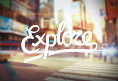Explore against city scene vector Royalty Free Stock Images