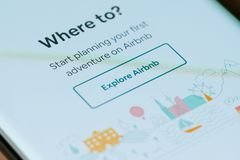 Explore airbnb application. New york, USA - march 15, 2019: Explore airbnb application on smartphone screen close up view royalty free stock photo