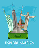 Explore America banner with famous attractions. Explore America banner with Empire State Building, Statue of Liberty and others famous architectural attractions Stock Image