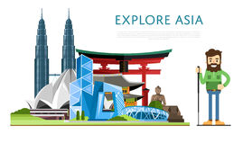 Explore Asia banner with famous attractions Stock Images