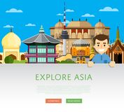 Explore Asia template with famous attractions. Explore Asia template with smiling tourist on background of famous traditional and modern attractions. Travel Stock Photo