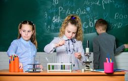 Explore biological molecules. Future technology and science concept. Children study biology or chemistry school. School stock image